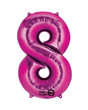 Large Pink Number 8 Foil Balloon at Fancy Dress and Party