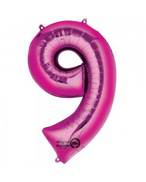 Large Pink Number 9 Foil Balloon at Fancy Dress and Party