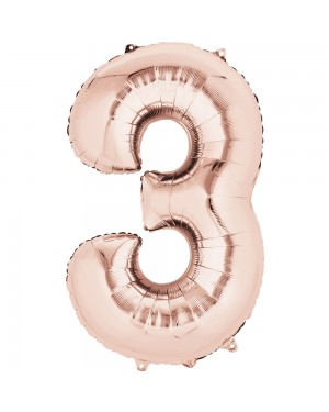 Large Rose Gold Number 3 Foil Balloon at Fancy Dress and Party