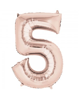 Large Rose Gold Number 5 Foil Balloon at Fancy Dress and Party