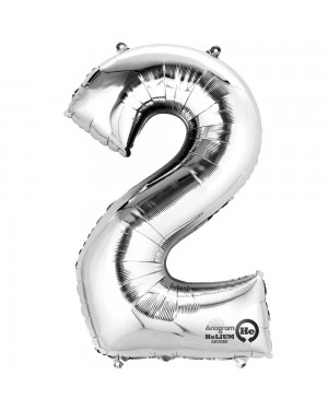 Large Silver Number 2 Foil Balloon at Fancy Dress and Party