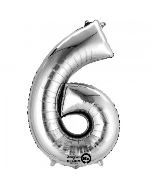 Large Silver Number 6 Foil Balloon at Fancy Dress and Party
