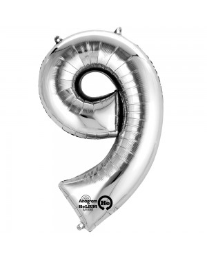 Large Silver Number 9 Foil Balloon at Fancy Dress and Party