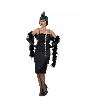 Long Black Flapper Costume Front View at Fancy Dress and Party