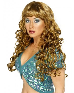 Long Curly Brown Wig At Fancy Dress and Party