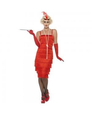 Long Red Flapper Costume Front View at Fancy Dress and Party