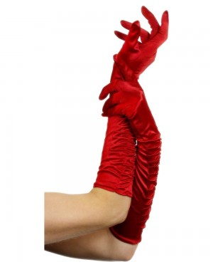 Long Red Satin Gloves at Fancy Dress and Party