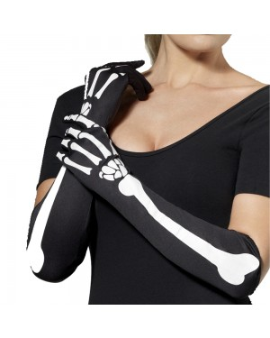 Long Skeleton Gloves at Fancy Dress and Party