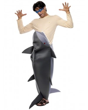 Man Eating Shark Costume Front at Fancy Dress and Party