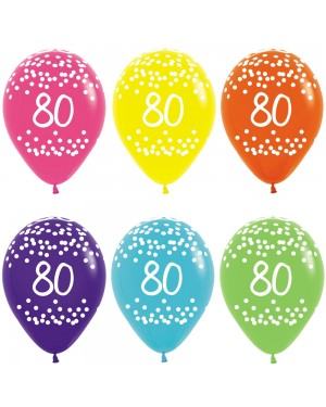 Multi Coloured 80th Birthday Balloons at Fancy Dress and Party