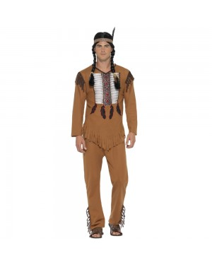 Native Indian Warrior Man Costume Front View at Fancy Dress and Party