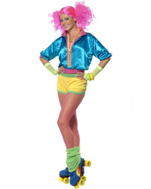 Neon 80s Costume Front View at Fancy Dress and Party