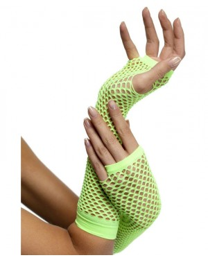 Neon Green Fishnet Gloves at Fancy Dress and Party