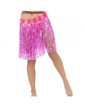 Neon Pink Hula Skirt with Flowers at Fancy Dress and Party
