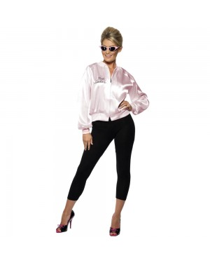 Official Pink Ladies Jacket Front at Fancy Dress and Party