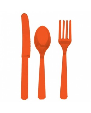 Orange Plastic Cutlery at Fancy Dress and Party
