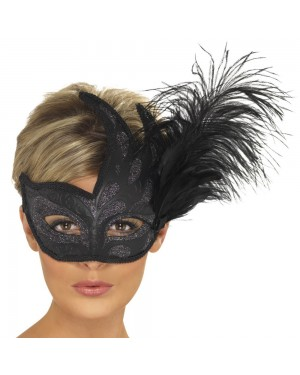 Ornate Colombina Feather Mask at Fancy Dress and Party