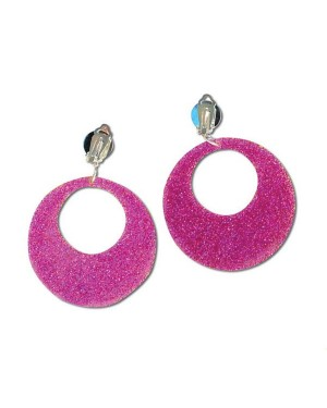 Pink Glitter Earrings at Fancy Dress and Party