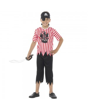 Pirate Kids Costume Front View at Fancy Dress and Party