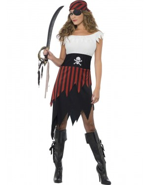 Pirate Wench Costume Front at Fancy Dress and Party