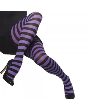 Purple and Black Striped Tights at Fancy Dress and Party