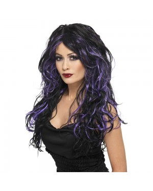 Purple Gothic Bride Wig at Fancy Dress and Party