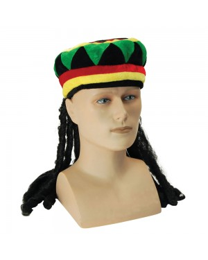 Rasta Hat with Hair Front View at Fancy Dress and Party
