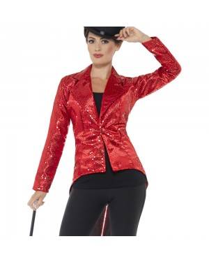 Red Womens Tailcoat Front View at Fancy Dress and Party