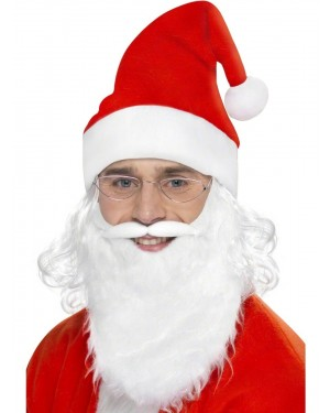 Santa Set with Beard and Hat and Wig and Glasses at Fancy Dress and Party