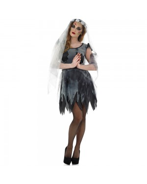 Short Black Corpse Bride Costume at Fancy Dress and Party