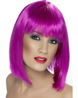 Short Neon Purple Wig at Fancy Dress and Party