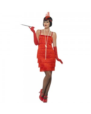 Short Red Flapper Costume Front View at Fancy Dress and Party
