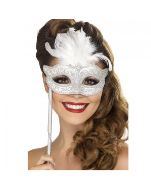 Silver Baroque Fantasy Eyemask at fancy Dress and Party