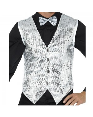 Silver Sequin Waistcoat Front View at Fancy Dress and Party