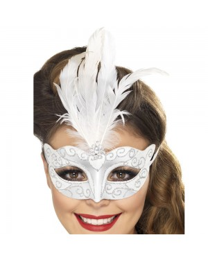 Silver Venetian Glitter Eyemask at Fancy Dress and Party