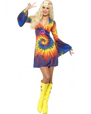 Tie Dye Hippie Dress Front at Fancy Dress and Party