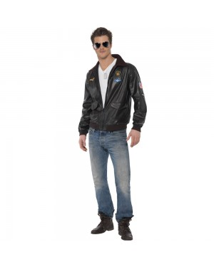 Top Gun Jacket Front at Fancy Dress and Party