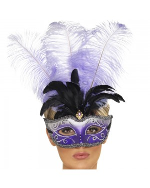 Venetian Multi-Coloured Plume Eyemask at Fancy Dress and Party