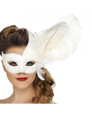 White Masquerade Mask at Fancy Dress and Party