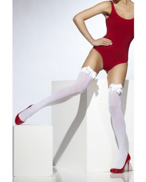 White Stockings with White Bow at Fancy Dress and Party