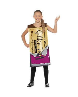 Willy Wonka Golden Ticket Tabard Costume Front View at Fancy Dress and Party