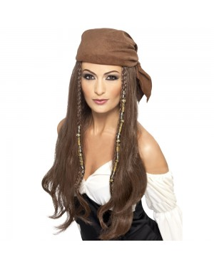 Womens Pirate Bandana Wig at Fancy Dress and Party