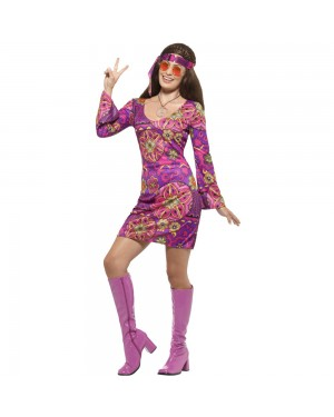 Woodstock Hippie Chick Costume Front View at Fancy Dress and Party