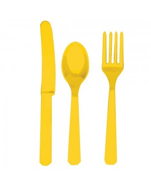Yellow Plastic Cutlery at Fancy Dress and Party