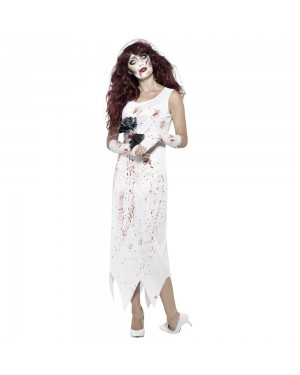 Zombie Bride Costume Front View at Fancy Dress and Party