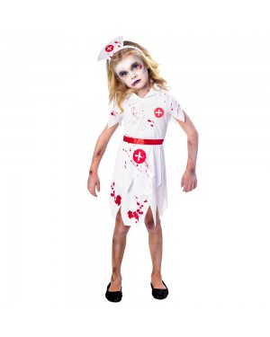 Zombie Nurse Kids Costume at Fancy Dress and Party