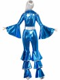70s Blue Disco Costume Front at Fancy Dress and Party