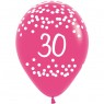 Multi Coloured 30th Birthday Balloons Pink Balloon at Fancy Dress and Party