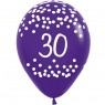 Multi Coloured 30th Birthday Balloons Purple Balloon at Fancy Dress and Party