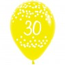 Multi Coloured 30th Birthday Balloons Yellow Balloon at Fancy Dress and Party
